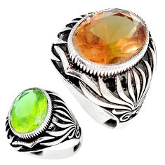 10.84cts green alexandrite (lab) 925 silver solitaire mens ring size 10.5 c11187