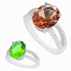 5.57cts alexandrite (lab) topaz 925 silver solitaire ring size 9 a95346 c11254