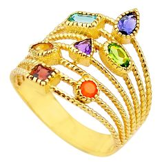 4.03cts amethyst cornelian citrine silver 14k gold chakra ring size 6 t50041