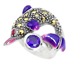 1.27cts purple amethyst quartz marcasite 925 silver dolphin ring size 5.5 c15937