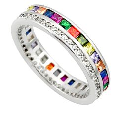 4.22cts amethyst ruby emerald quartz silver eternity ring band size 7 c26445
