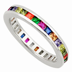 3.59cts amethyst ruby garnet quartz 925 silver eternity ring band size 6 c26601