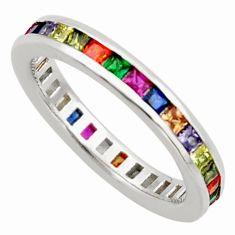 4.02cts amethyst ruby garnet quartz 925 silver eternity ring band size 7 c26602