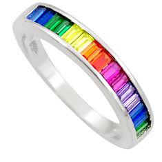 3.32cts amethyst ruby garnet quartz 925 silver eternity ring band size 8 c26572