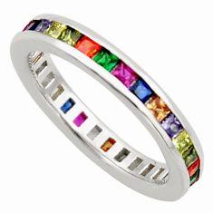 3.42cts amethyst ruby garnet quartz silver eternity ring band size 7.5 c26598