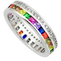 4.07cts amethyst ruby peridot quartz 925 silver eternity ring band size 7 c26480