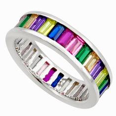 6.10cts amethyst ruby quartz 925 silver eternity ring band size 5.5 c26583