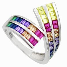 4.69cts amethyst ruby sapphire emerald quartz 925 silver ring size 8 c26422