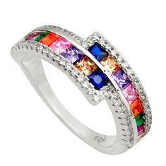 5.28cts amethyst ruby sapphire quartz 925 sterling silver ring size 6 c26435