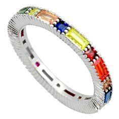 3.18cts amethyst topaz ruby quartz 925 silver eternity ring band size 6 c26456