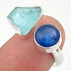 9.61cts aqua aquamarine raw kyanite 925 silver adjustable ring size 7 t38141