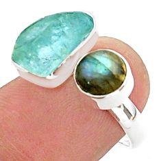9.61cts aqua aquamarine raw labradorite silver adjustable ring size 7 t38162