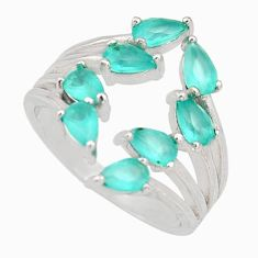 4.30cts aqua chalcedony 925 sterling silver adjustable ring size 7 c9083