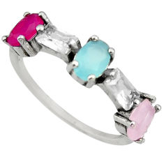 4.16cts aqua chalcedony ruby (lab) 925 sterling silver ring size 7 c9428