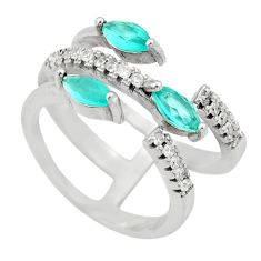 3.42cts aqua chalcedony topaz 925 silver adjustable ring size 6 c9397