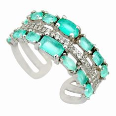 3.13cts aqua chalcedony topaz 925 silver adjustable ring size 7 c9080
