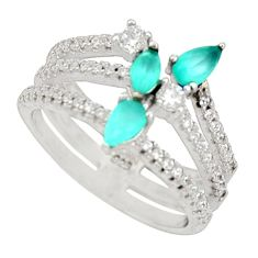 3.14cts aqua chalcedony topaz 925 sterling silver ring size 5.5 c9132