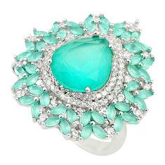 Aqua chalcedony topaz 925 sterling silver ring jewelry size 6 c19169