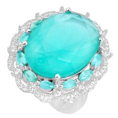 16.30cts aqua chalcedony topaz 925 sterling silver ring size 7 c19156