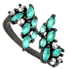 2.42cts aqua chalcedony topaz 925 sterling silver ring size 7 c9036
