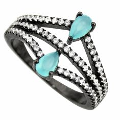 3.13cts aqua chalcedony topaz 925 sterling silver ring size 7 c9039