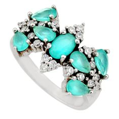 4.92cts aqua chalcedony topaz 925 sterling silver ring size 7 c9067