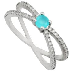 1.79cts aqua chalcedony topaz 925 sterling silver ring size 7 c9430