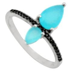 3.47cts aqua chalcedony topaz 925 sterling silver ring size 9 c9429