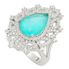 7.76cts aqua chalcedony white topaz 925 silver ring jewelry size 6 c19161