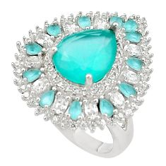 12.72cts aqua chalcedony white topaz 925 silver ring jewelry size 7 c19233