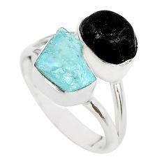 9.96cts aquamarine black tourmaline raw 925 silver ring jewelry size 7 t21002