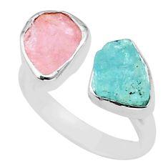 10.78cts aquamarine rose quartz raw 925 silver adjustable ring size 8 t35198