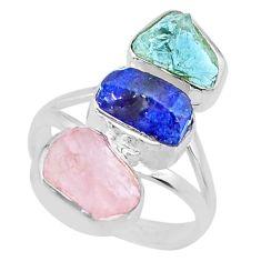 12.96cts aquamarine rose quartz sapphire raw 925 silver ring size 7.5 r73717