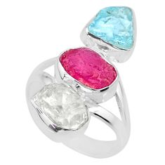 11.57cts aquamarine ruby herkimer diamond 925 silver ring size 6 r73833