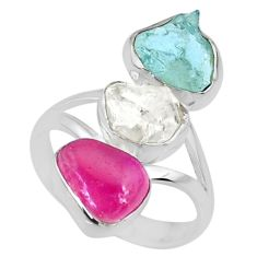 13.27cts aquamarine ruby raw herkimer diamond 925 silver ring size 9 r73827