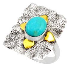3.02cts arizona mohave turquoise 925 silver gold solitaire ring size 7.5 d46201