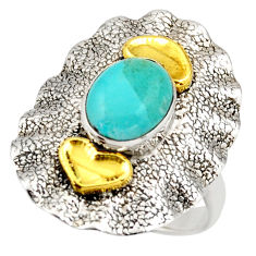3.29cts arizona mohave turquoise 925 silver gold solitaire ring size 7.5 d46222