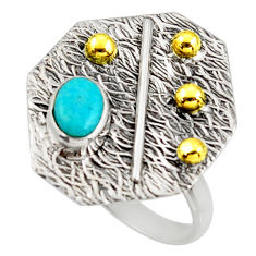 1.47cts arizona mohave turquoise 925 silver gold solitaire ring size 9.5 r37331