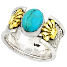 3.53cts arizona mohave turquoise 925 silver gold solitaire ring size 7 d46304
