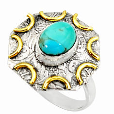 3.16cts arizona mohave turquoise 925 silver gold solitaire ring size 9 r37267