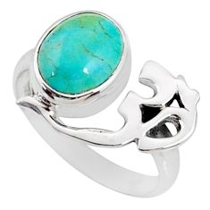 3.91cts arizona mohave turquoise 925 silver solitaire om ring size 6.5 r67408