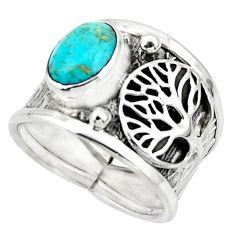 3.16cts arizona mohave turquoise 925 silver tree of life ring size 7 r49906
