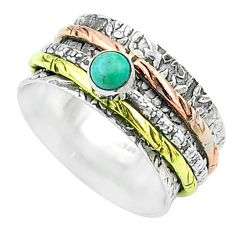 Arizona mohave turquoise 925 silver two tone spinner band ring size 8 t51642