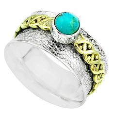 Arizona mohave turquoise 925 silver two tone spinner band ring size 7.5 t51796