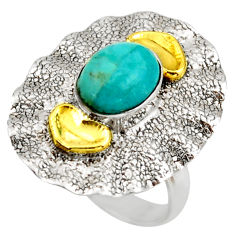 3.27cts arizona mohave turquoise silver 14k gold solitaire ring size 6.5 d46224