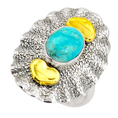3.14cts arizona mohave turquoise silver 14k gold solitaire ring size 7 d46204