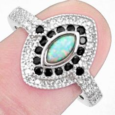 Art deco australian opal (lab) topaz 925 silver ring size 7.5 a95835 c24604