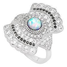 Art deco australian opal (lab) topaz 925 silver ring size 6.5 a95885 c24619