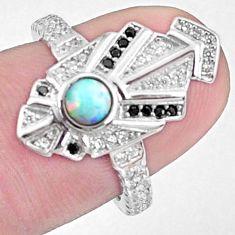 Art deco australian opal (lab) topaz round 925 silver ring size 6 a95830 c24612