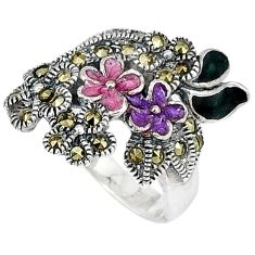 Art deco marcasite enamel 925 sterling silver flower ring size 5.5 c20797